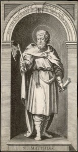 St Matthias, apostle chosen to replace Judas Iscariot, who defected : the axe he holds is the one which was used to remove his head